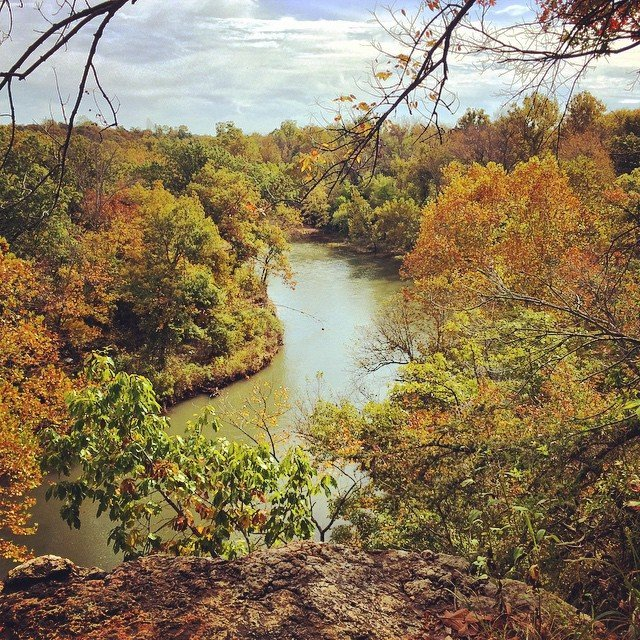 Pack good shoes for this side adventure- an unofficial but popular side trail takes visitors up a short but steep incline to walk along the top of the bluffs for views of shoal creek.