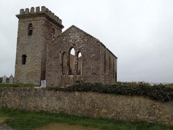 A church near the seaside, fallen into ruins