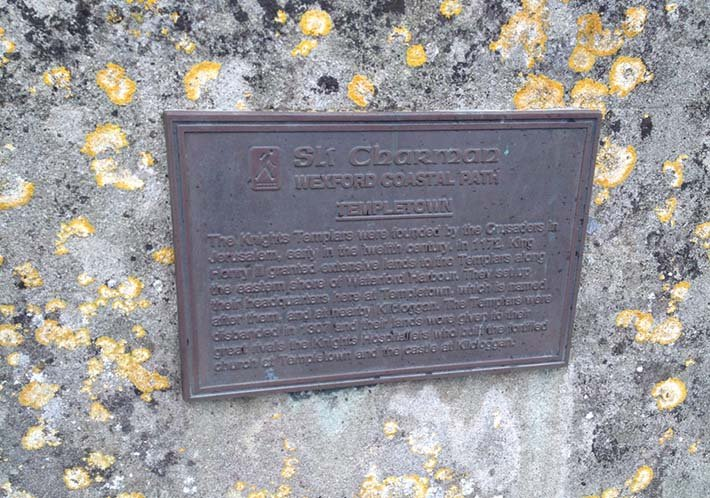 The plaque on the ruins of a church