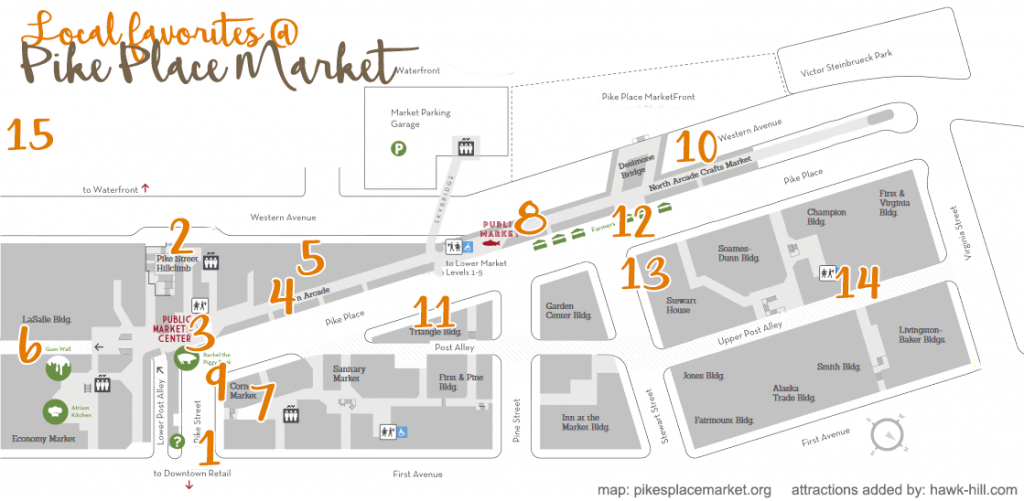 Pike Place map with an overlay guide to hidden gems of the market