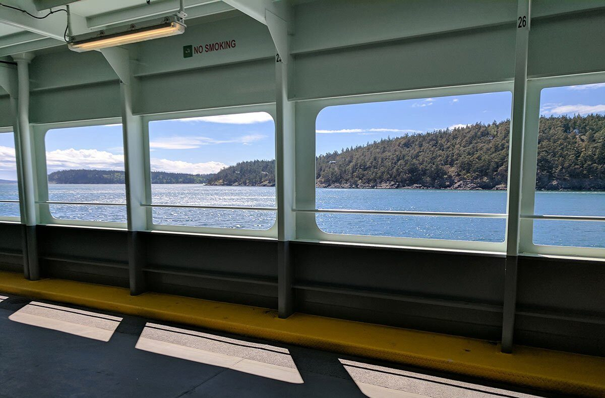 The view from the ferry on the way to lopez island.