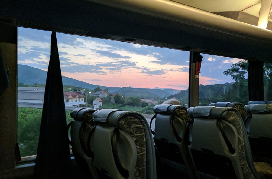 Sunset in bosnia, from bus lin