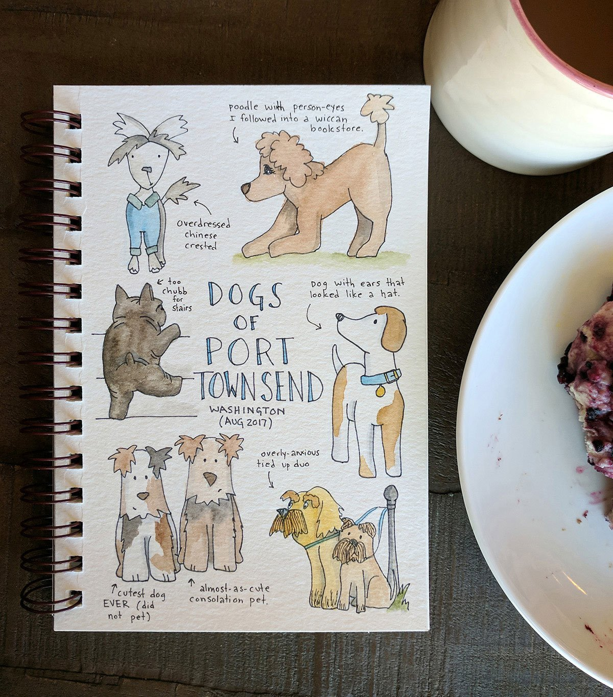 Doodle of dogs of port townsend from my travel journal