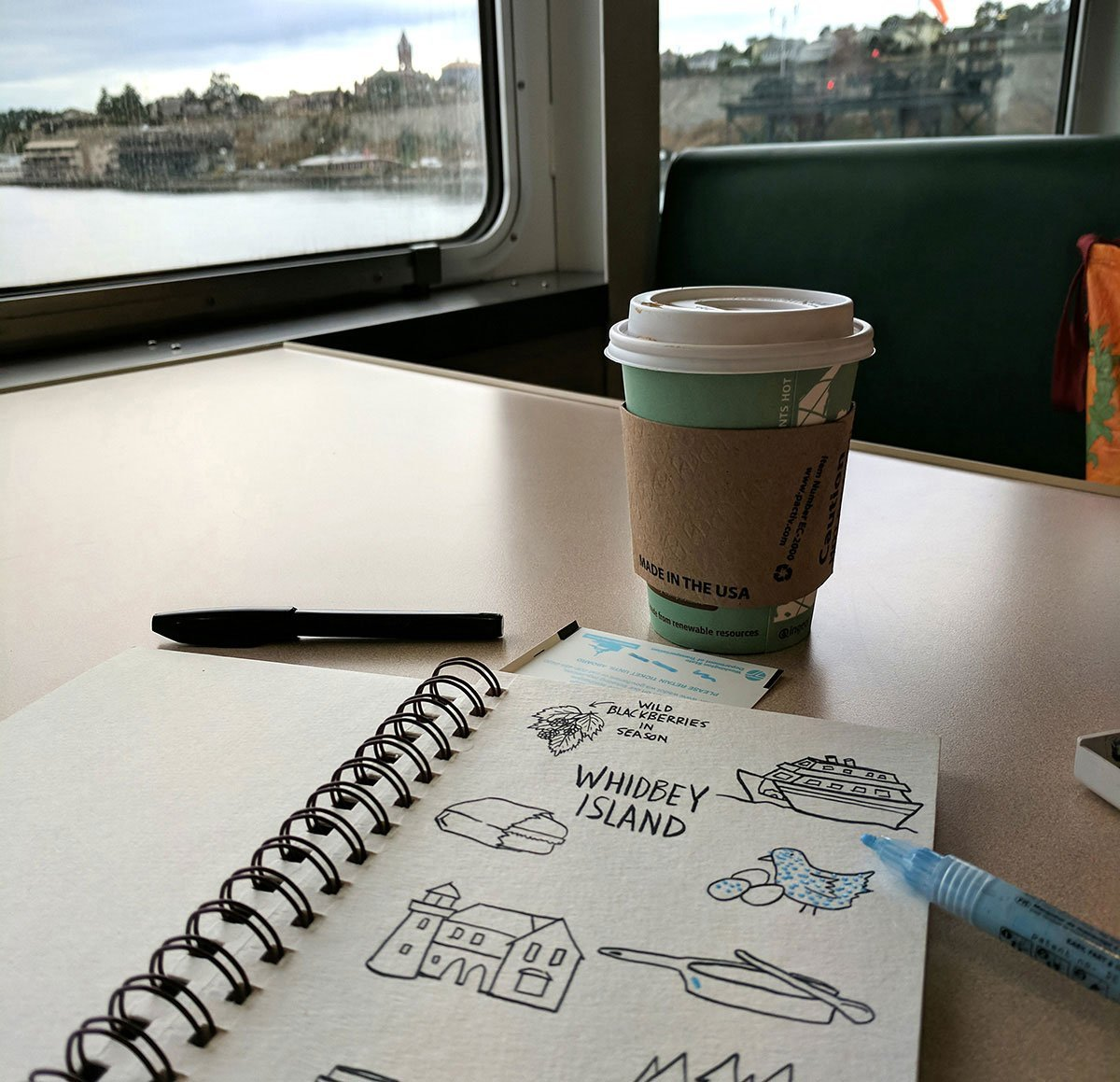 Watercolor with molotow masking pen on a ferry