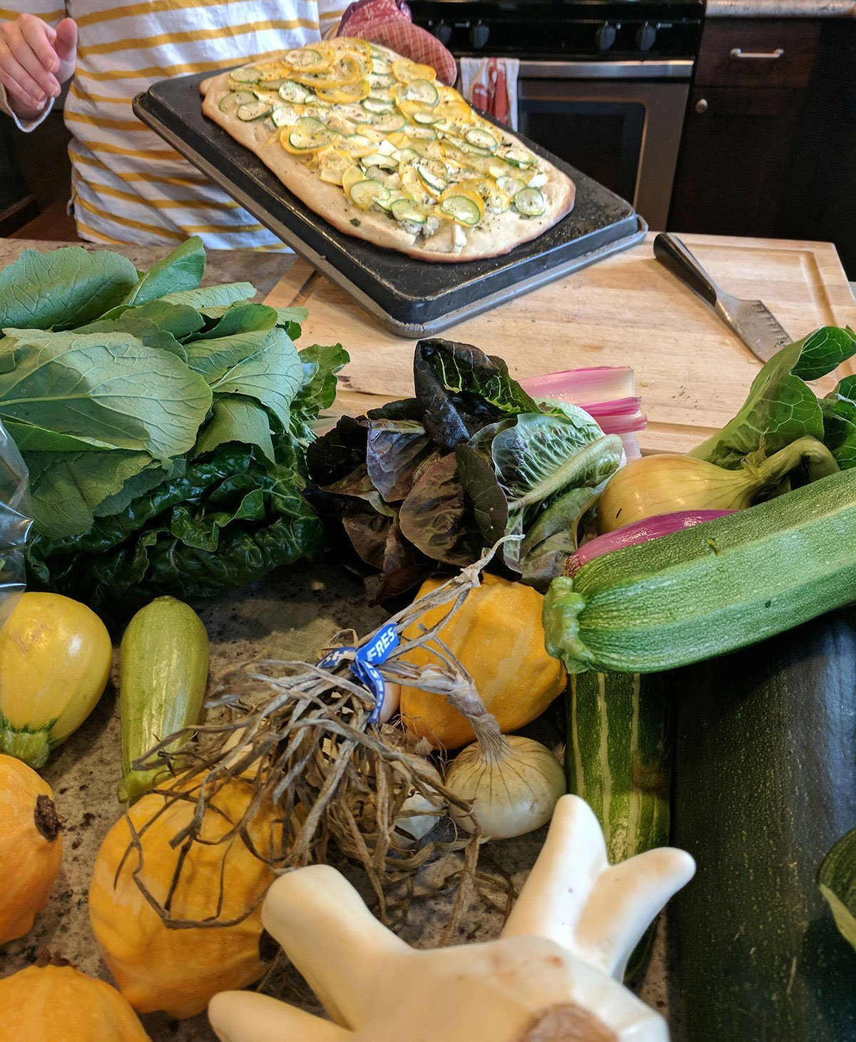 As a lifeline gardener trapped in urban seattle and travel destinations, seeing the bounty of a late summer home garden produce does my heart good.