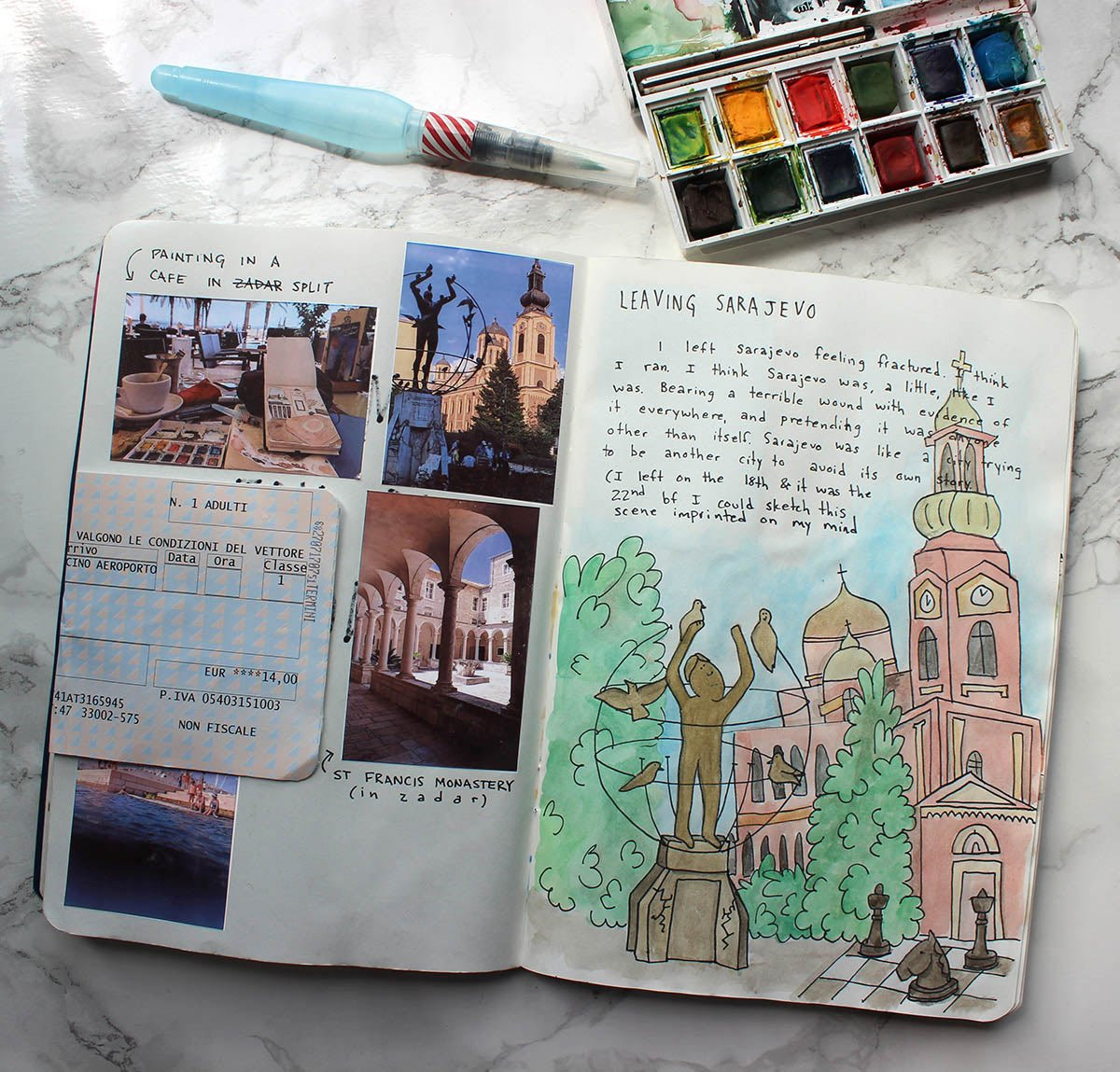 A travel journal art  page created with this kit in Sarajevo