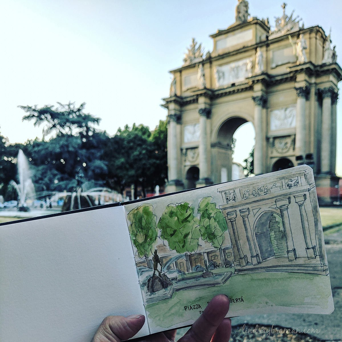 An added layer of grey copics really added depth to this doodle of an Italian park
