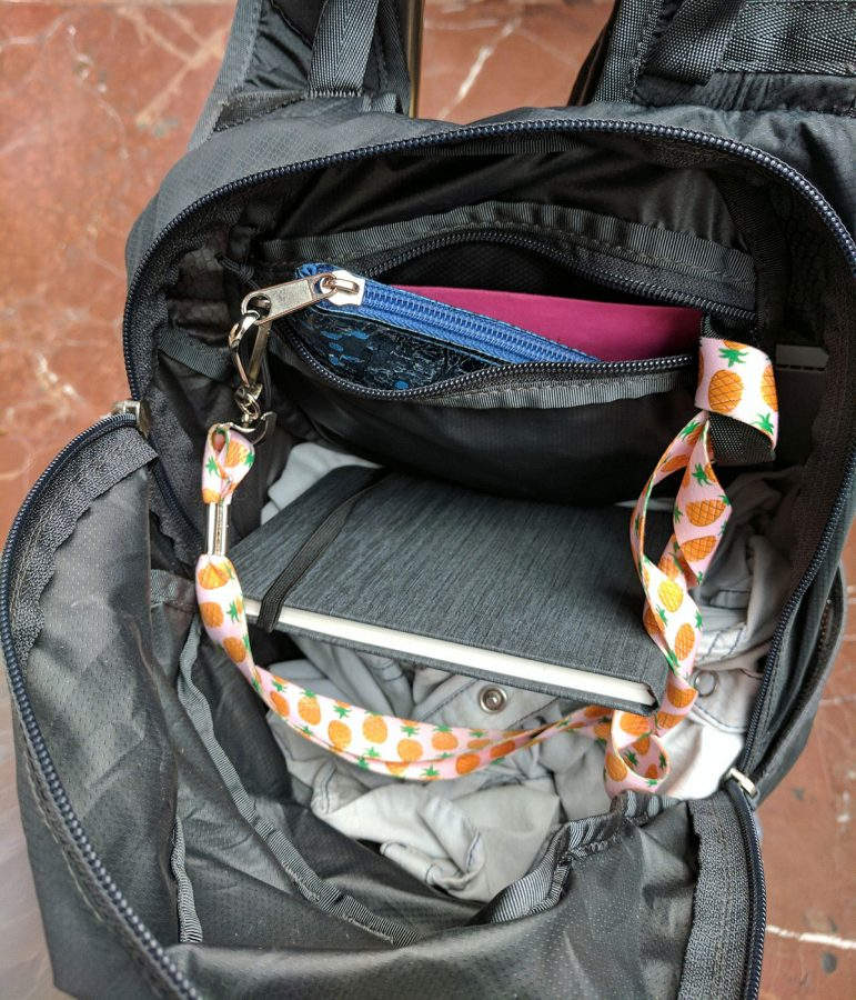 Wallet tethered to interior backpack pocket via lanyard - precaution for summer train travel through rome