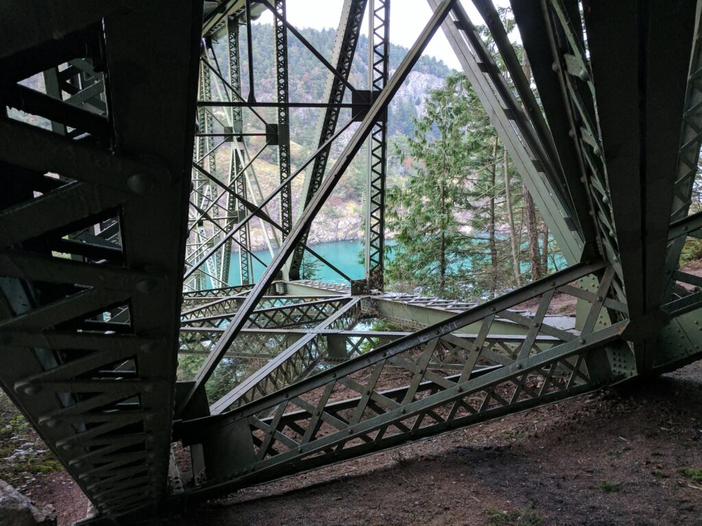 The underside of deception pass bridge