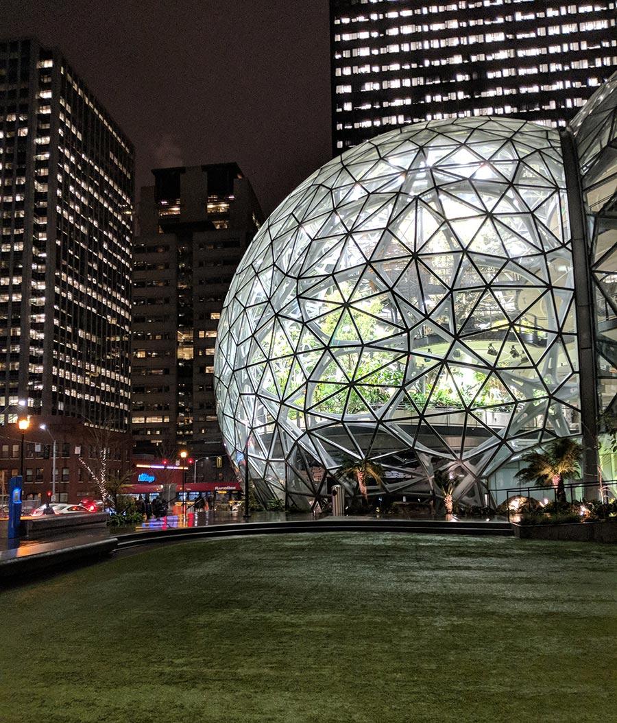 The amazon spheres illuminating south lake union.