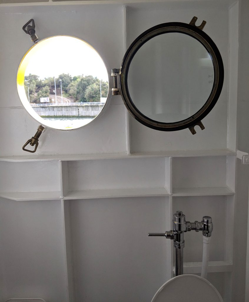 Porthole window on the chiloe island ferry in chile