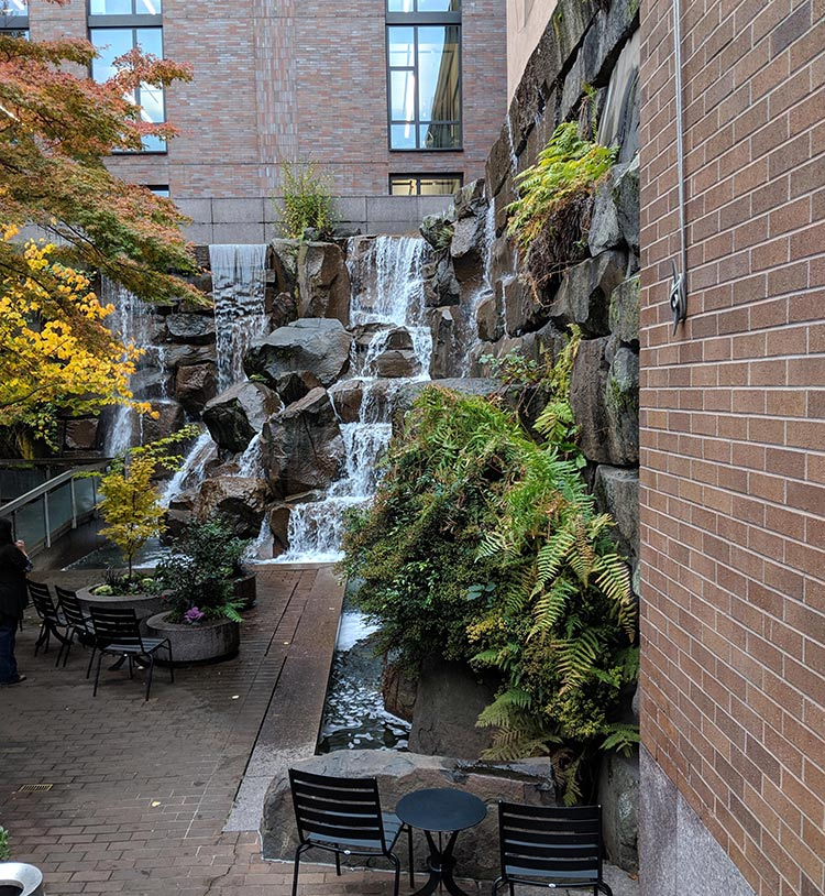 Ups waterfall park as shown from the street in downtown seattle.