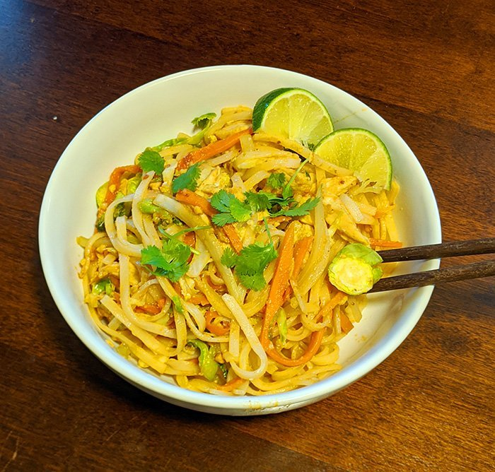 Pad thai recipe adapted for an airbnb kitchen and minimal ingredients