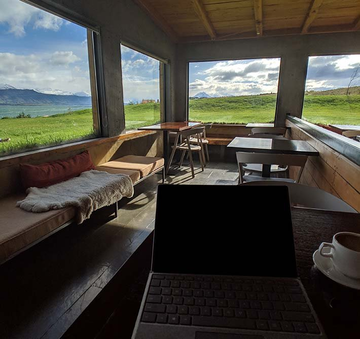 Working from the lobby of the altiplanico hotel in torres del paine national park