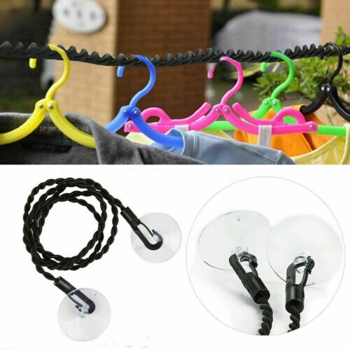 Black120cm portable non slip nylon washing clothesline outdoor travel camping clothes line rope new
