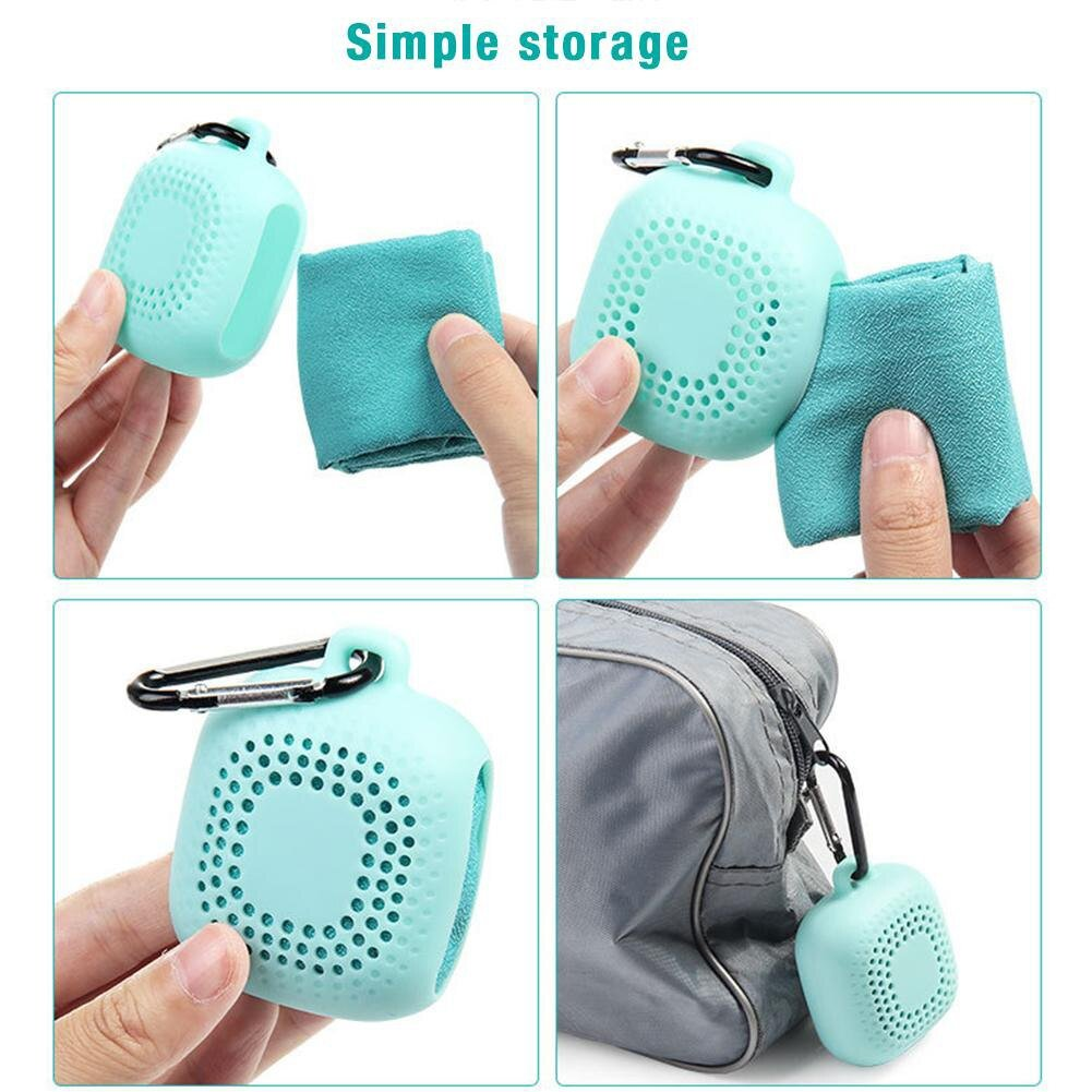 Portable microfiber cooling towel fast drying cooling sports shower towel camping washcloth outdoor travel silicone case.