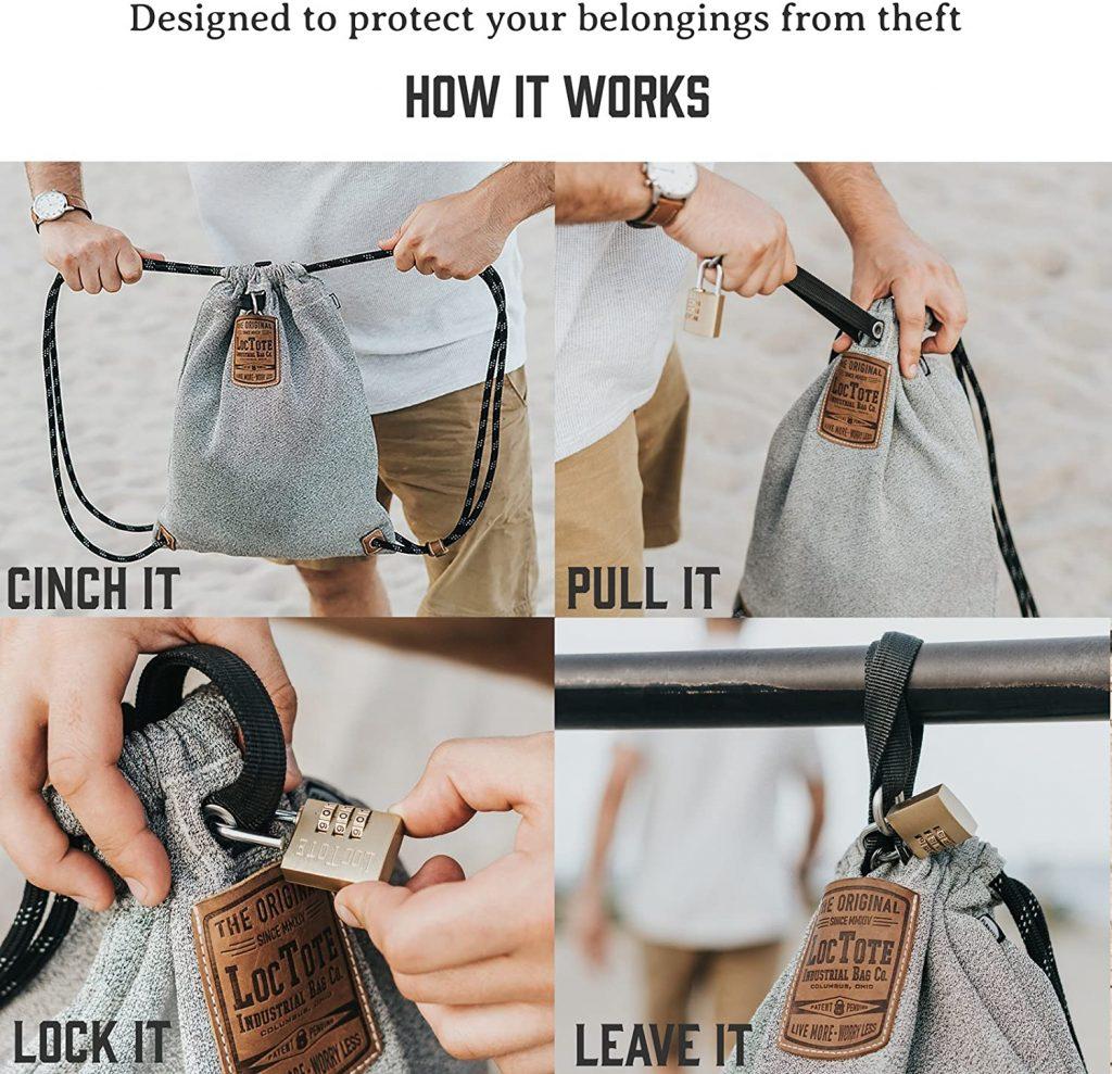 Slash proof bag for travel safety.