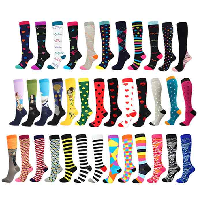 A selection of compression socks for travel, all under $5 a pair
