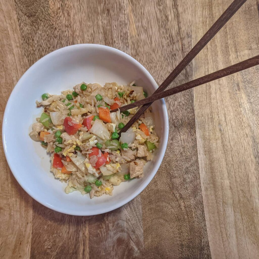 Fried rice can be made with basic ingredients in an airbnb or kitchenette kitchen