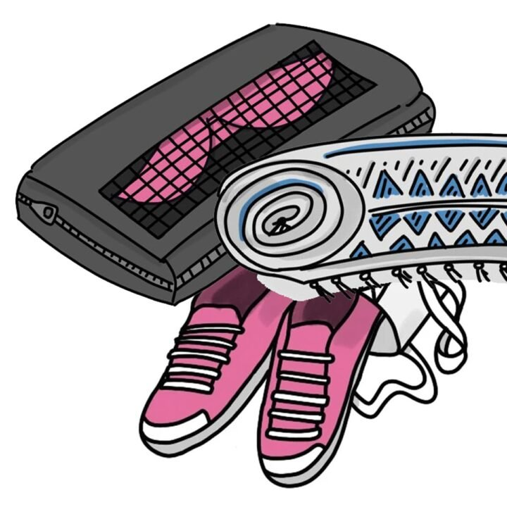Hand drawn doodles illustrating good hacks for packing for travel. This image shows a packing cube, a rolled towel, and pink shoes.
