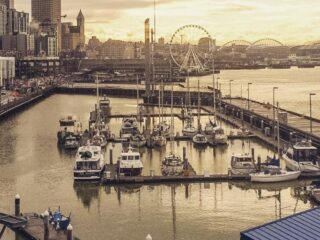 Seattle's downtown marina and cruise ship pier in the rain.