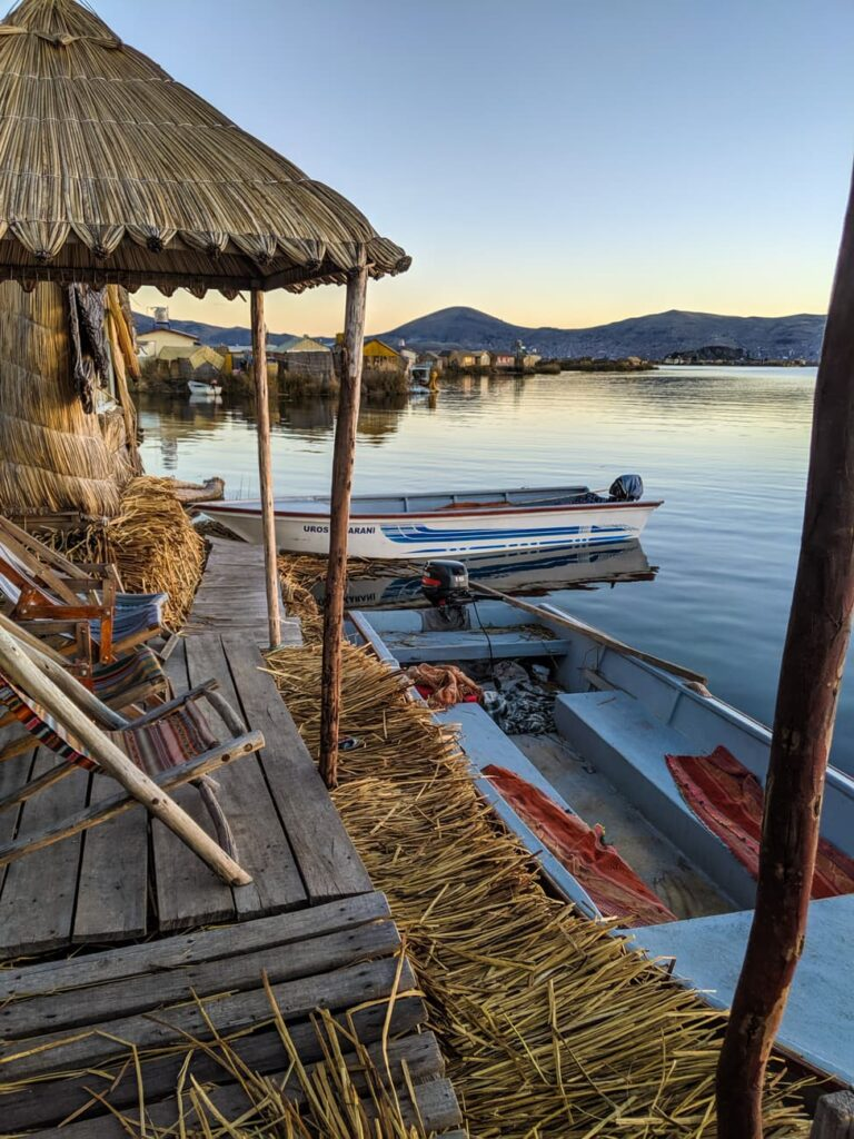 A straw hut on a straw island is a lodging option when visiting the Uros who live on Lake Titicaca