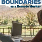 Image of a woman working on a balcony with a test overlay stating: 7 tips to maintaining healthy work boundaries as a remote worker.
