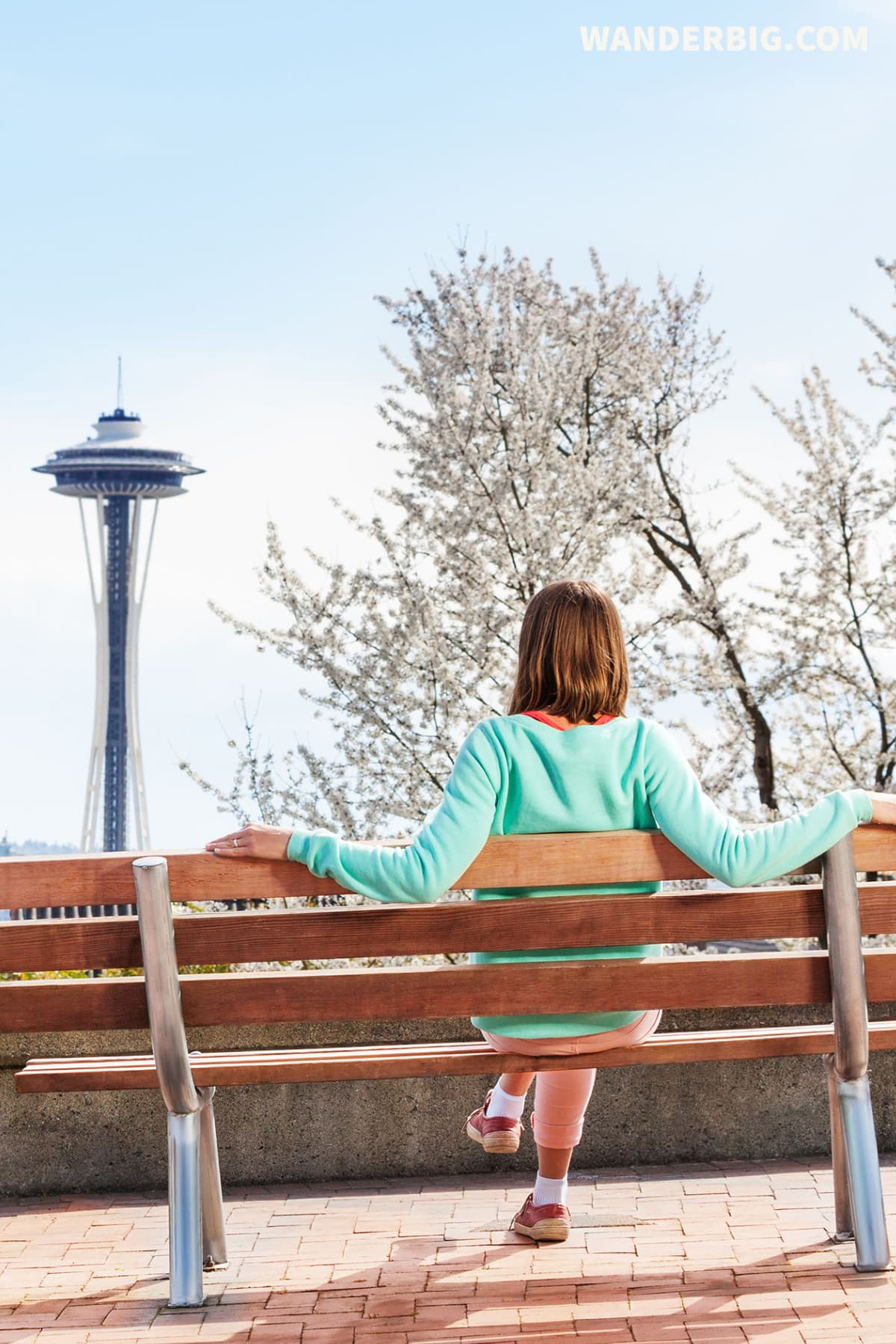 A woman sits on a bend in kerry park in seattle.