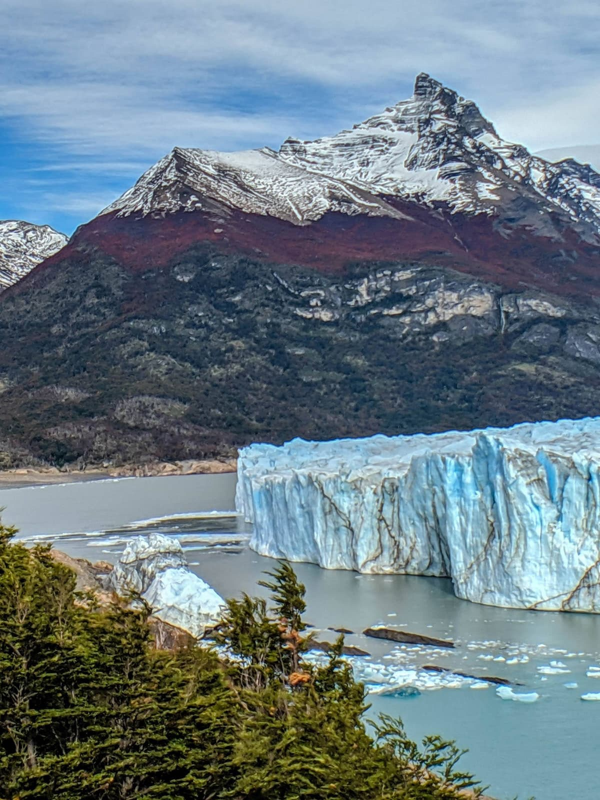 This glacier actively calves giant icebergs.