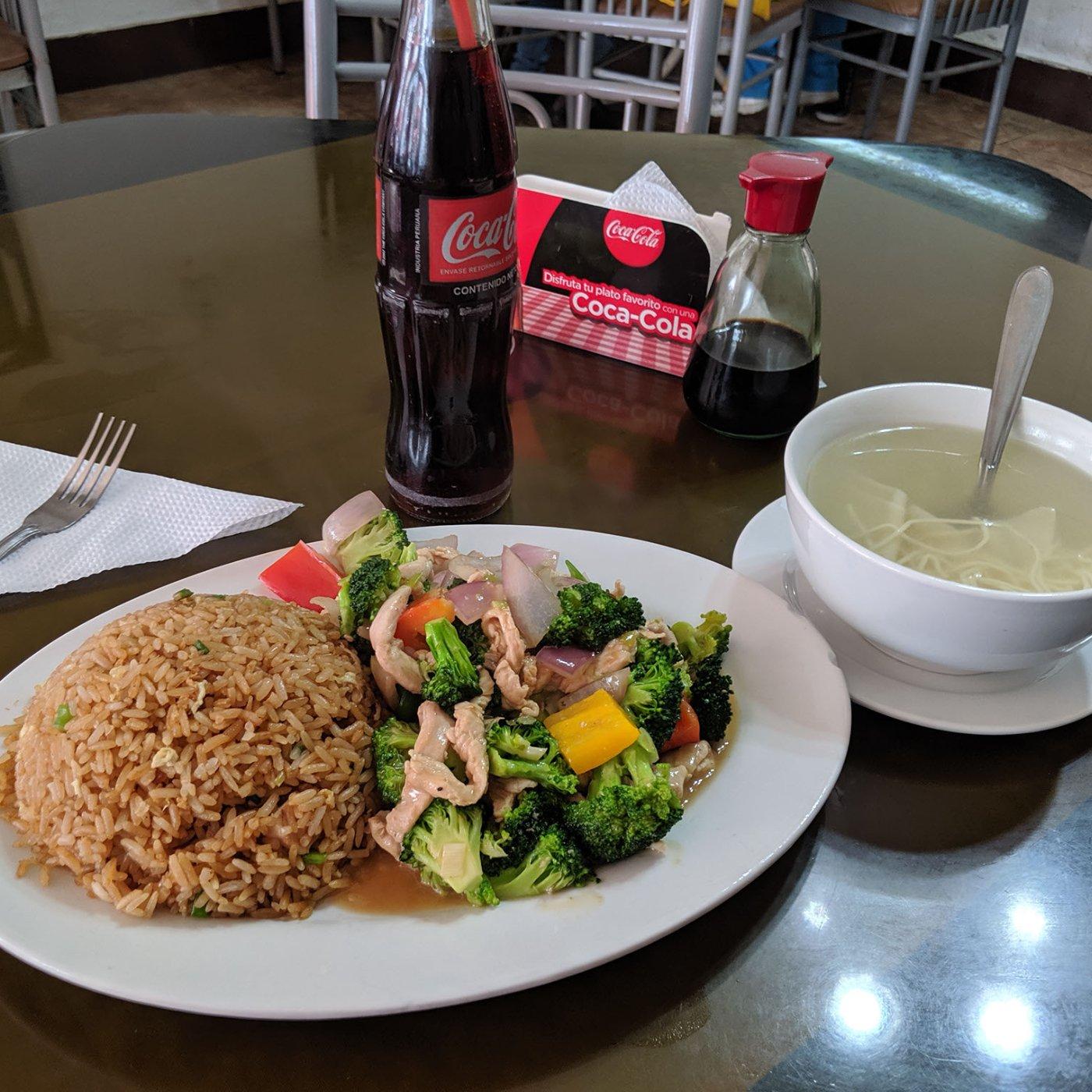 A plate of peruvian chinese food in peru.