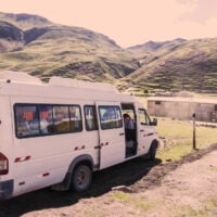 An image of a van sized taxi in Peru.