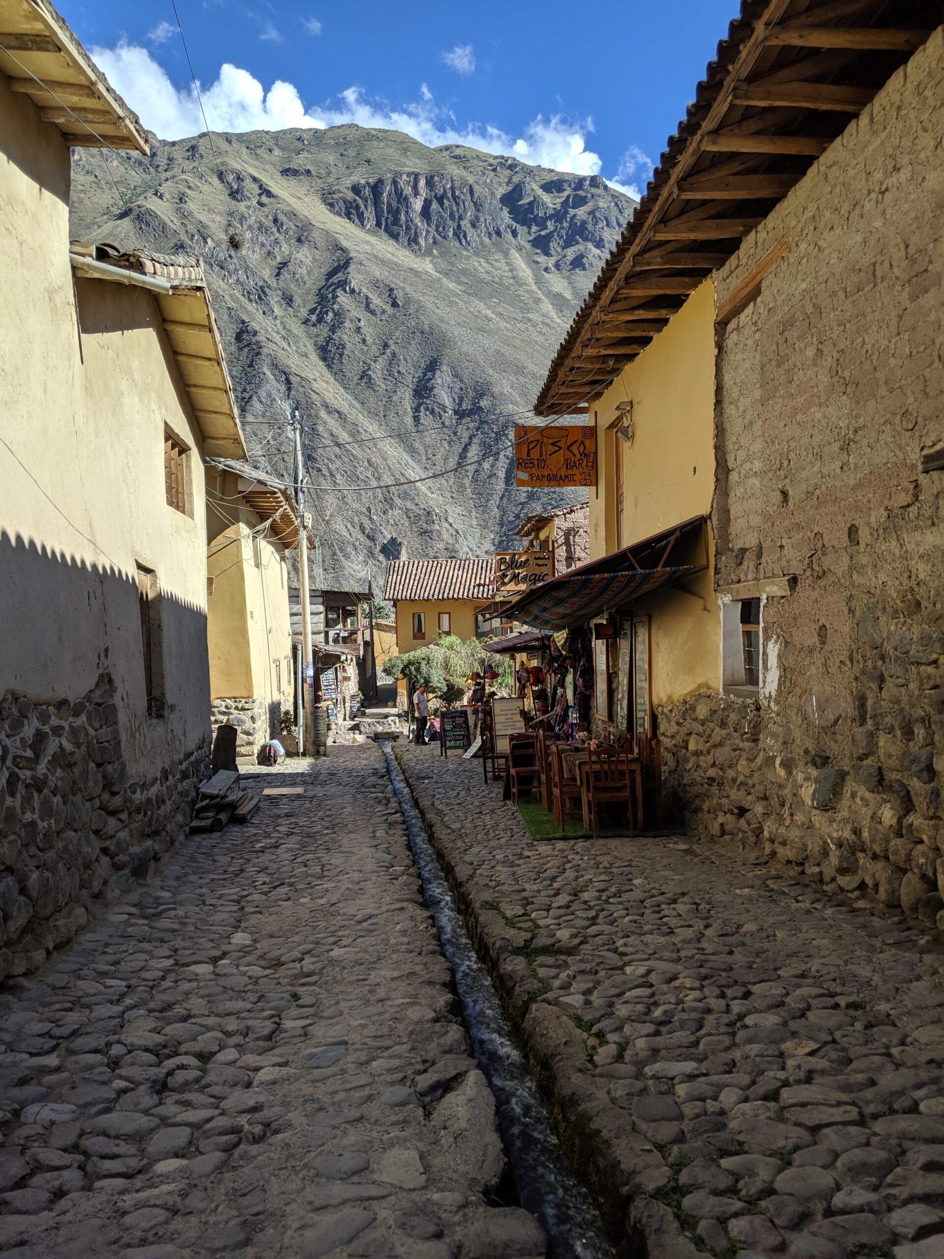 Incan aqueducts still in use in ollantaytambo, peru.
