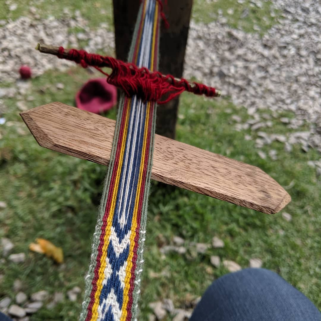 A weaving in process.
