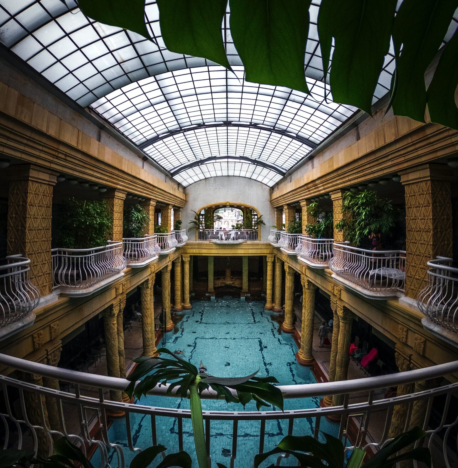 Balconies above a heated pool in budapest.