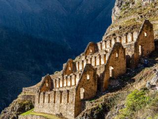 Ruins on a mountainside in Ollaytaytambo Peru.