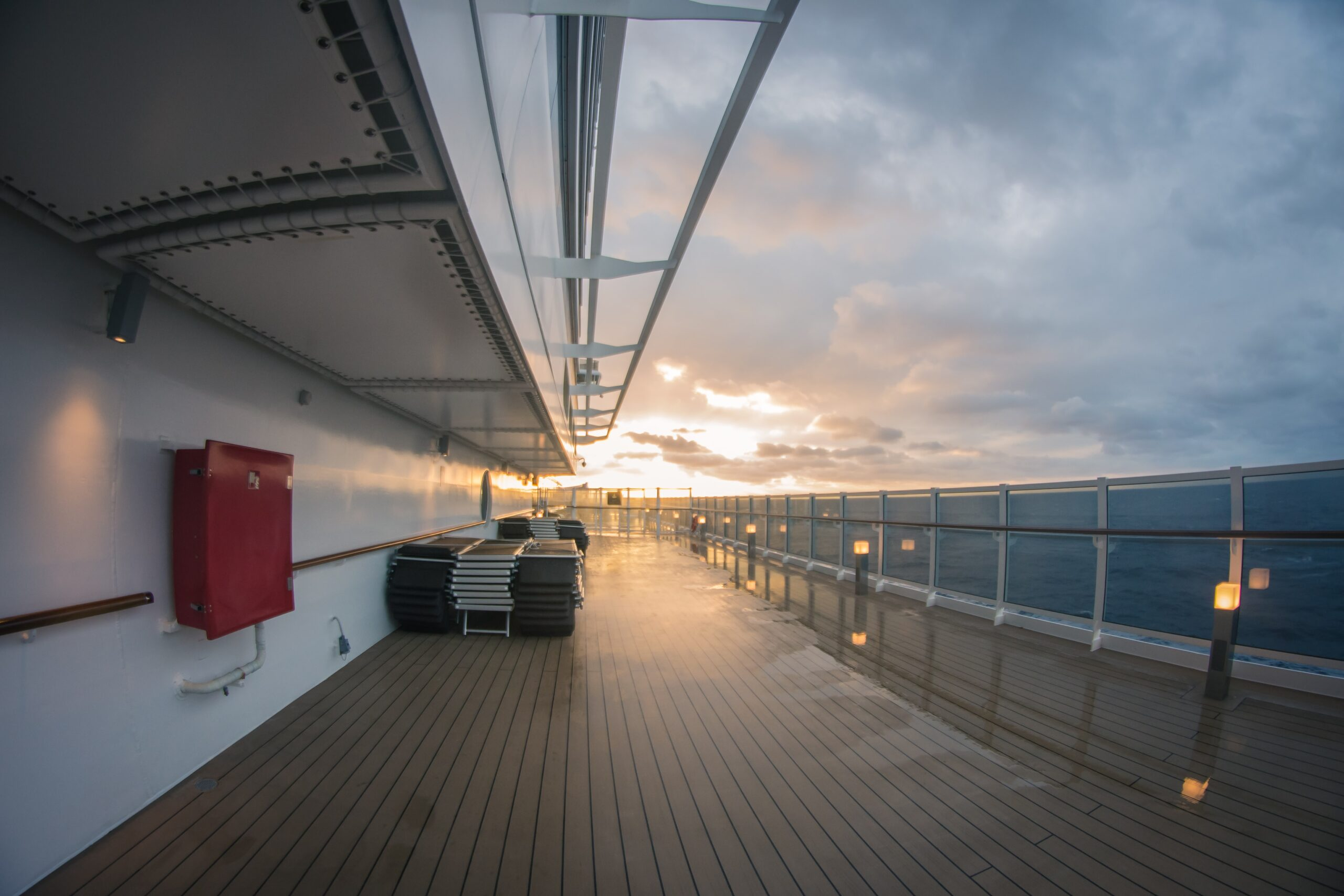 An empty deck of a cruise ship.