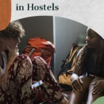 Text says 10 secrets for making friends in hostels with an image of two travelers in conversation.