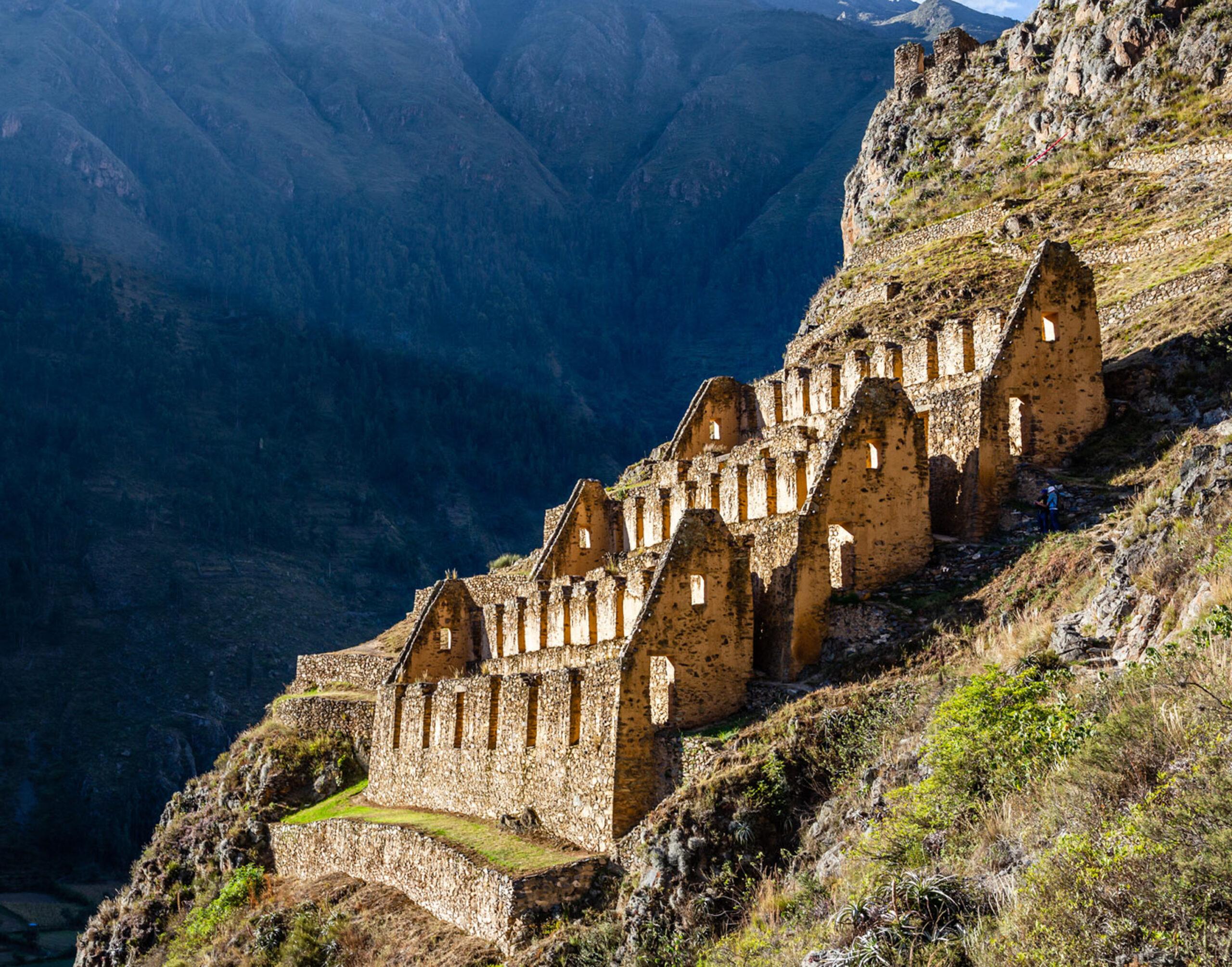Ruins on a mountainside in ollaytaytambo peru