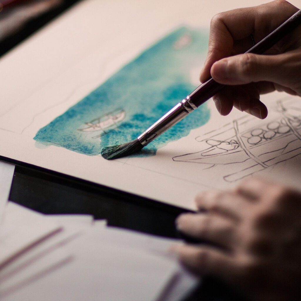 A hand painting a blue paper.