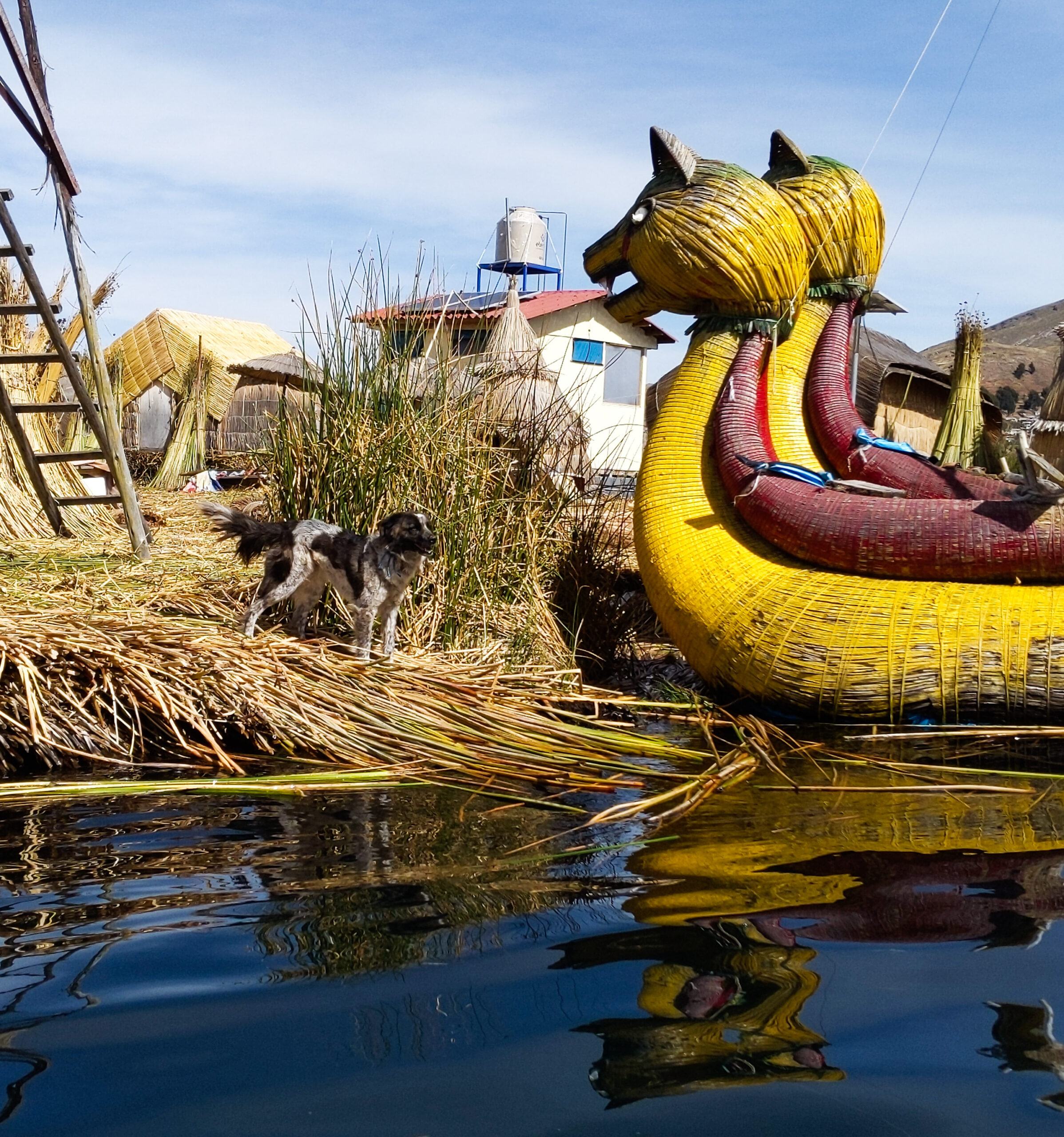 Traditional boats of the uros village in peru.