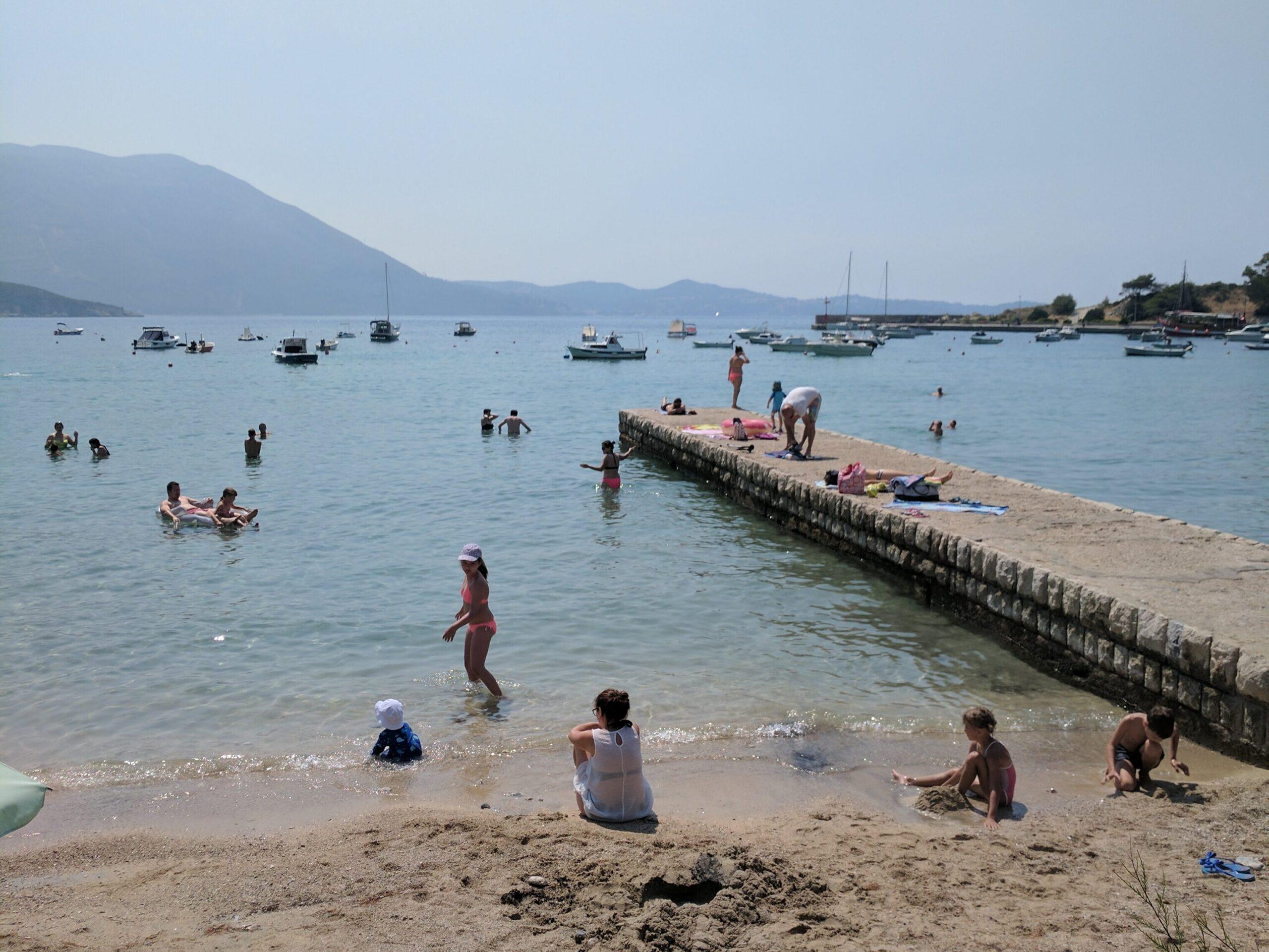 Beachgoers in croatia.