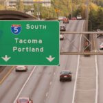 Cars leaving seattle via the interstate- possibly for day trips.