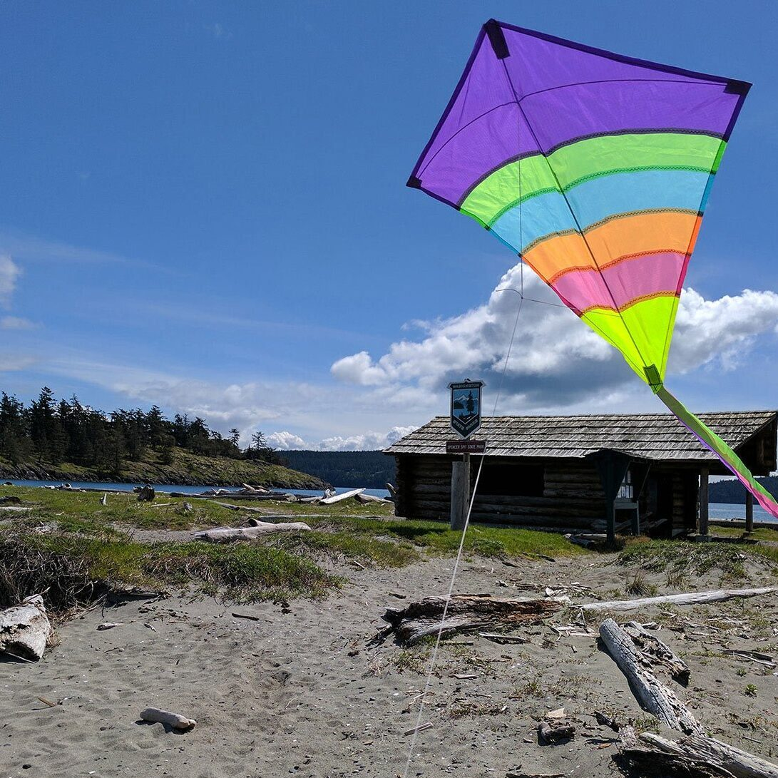 A kite flying on lopez island