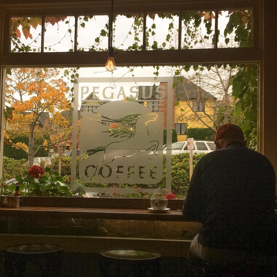 A man sits in front of the window covered with ivy in a coffee shop.