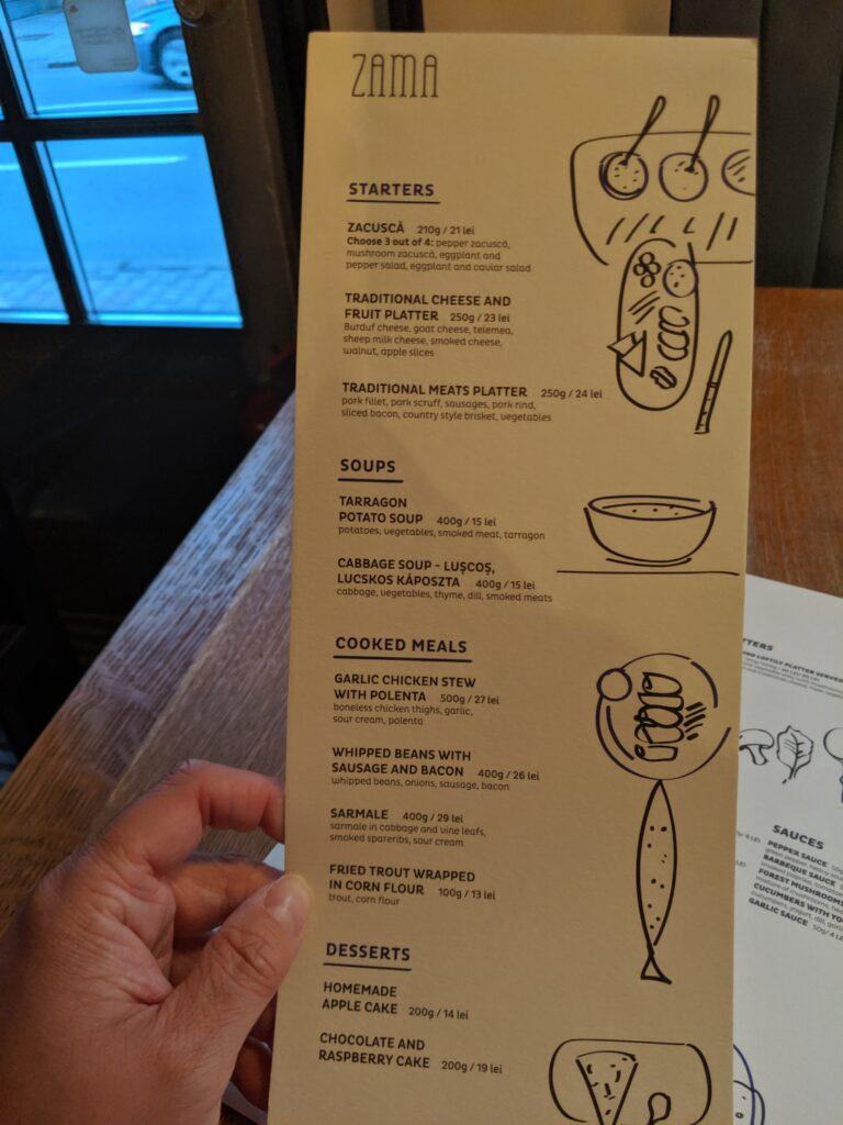 A restaurant menu in romania.