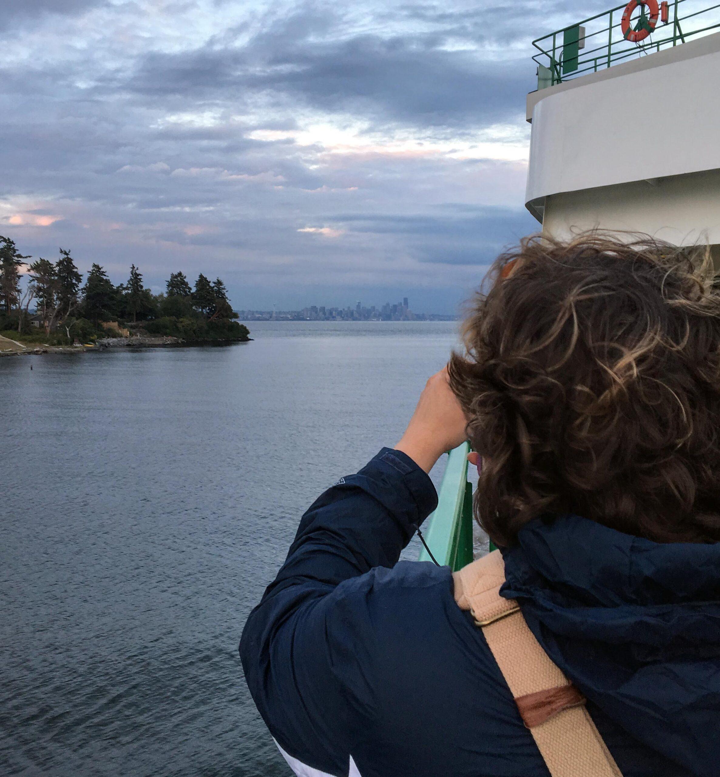 Seattle skyline as seen from across the sound in bainbridge island.