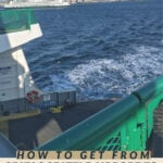 Image of a ferry leaving seattle with the text how to get from seatac seattle airport to bainbridge island without a car.