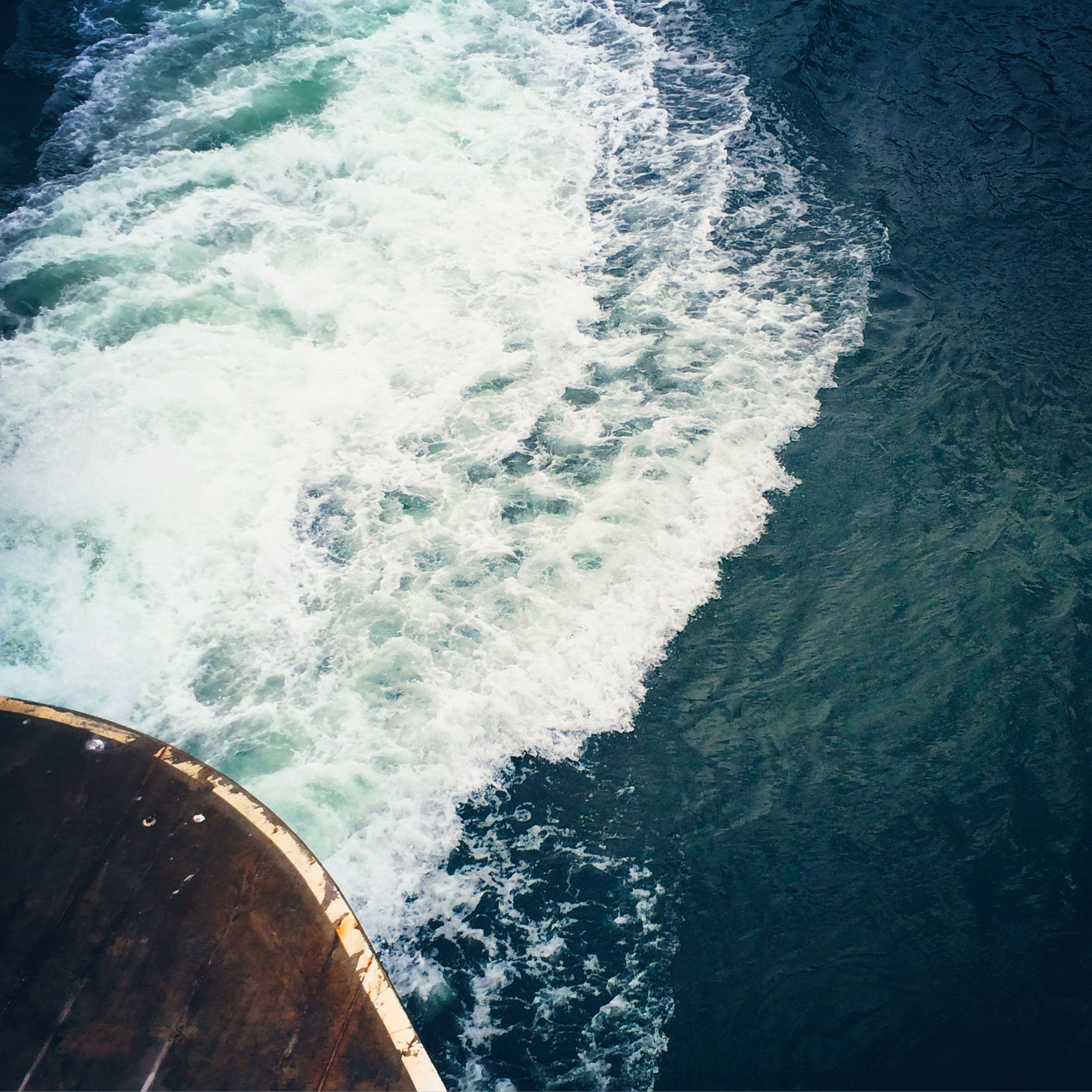 A foamy wake left behind a washington state ferry.
