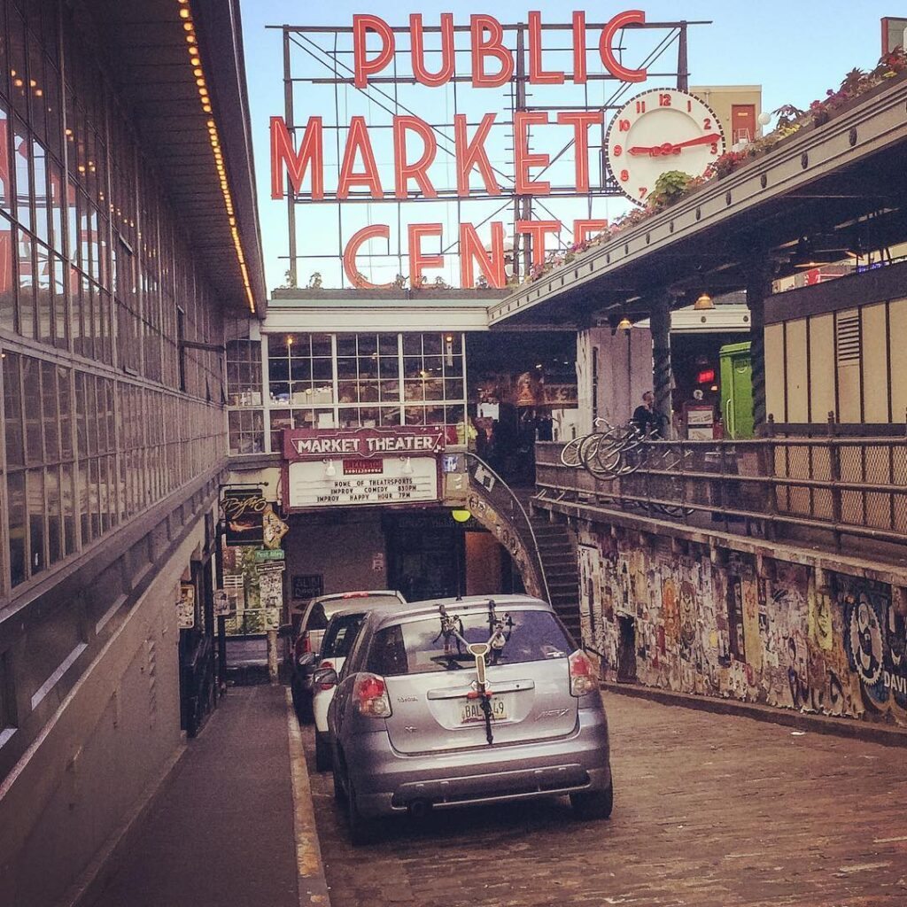 A street leading to ghost alley and the gum wall in pike place neighborhood of seattle.