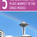 Photo of seattle and text about things to see on the way to the space needle.